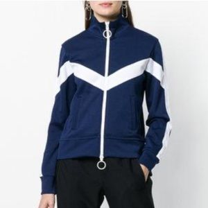 $1045 OFF-WHITE Zigzag Panel Zip-Through Track Top